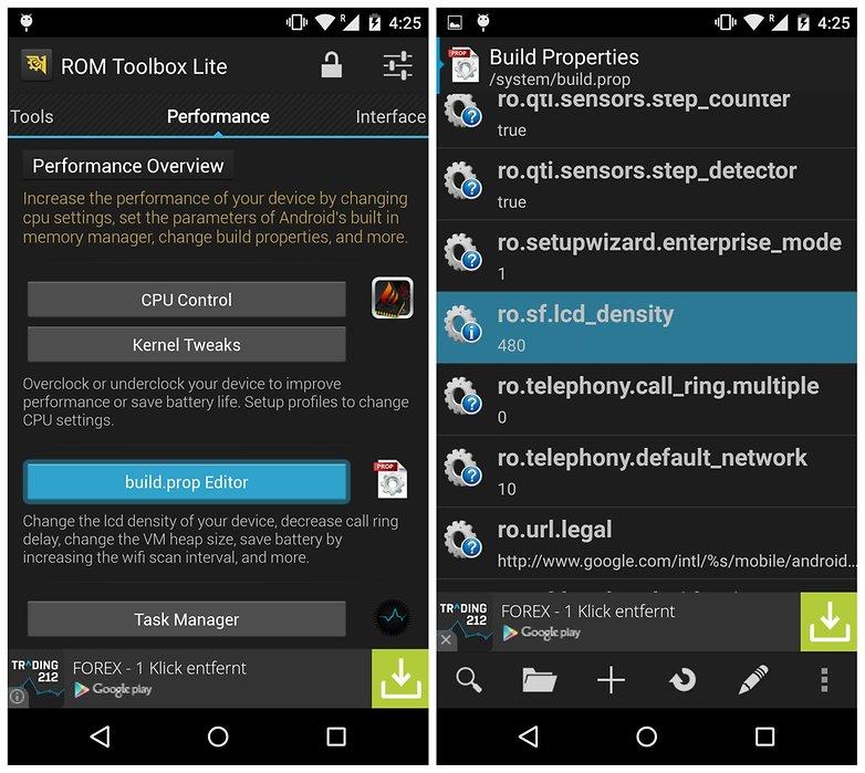 AndroidPIT ROM Toolbox buildprop редактор плотность жк-дисплея