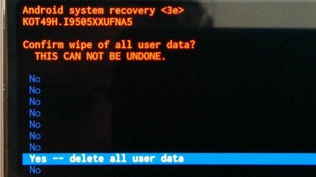Подтверждение сброса меню восстановления AndroidPIT