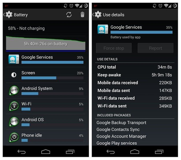 AndroidPIT battery usage google services