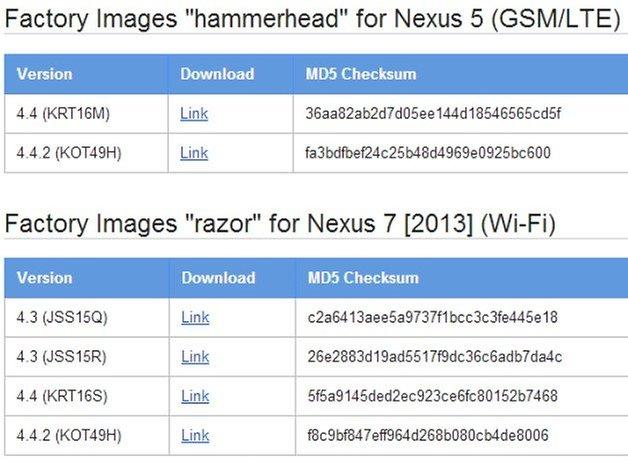 Nexus5Nexus7FactoryImage