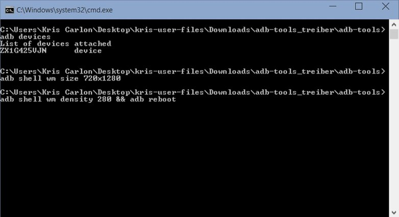 Плотность экрана AndroidPIT ADB