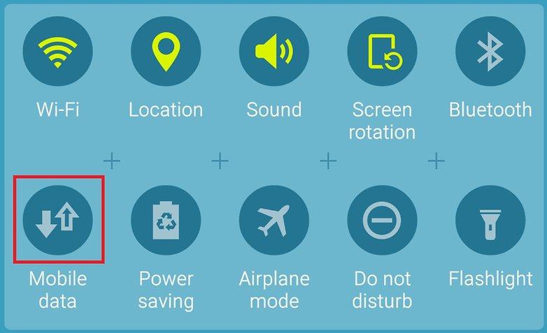Выделение переключения мобильных данных AndroidPIT Galaxy S6 TouchWiz Lollipop