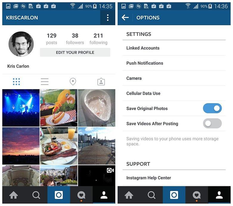 Настройки сохранения фотографий AndroidPIT Instagram