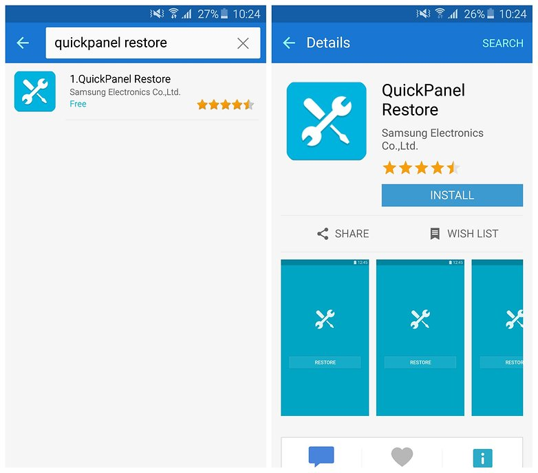 AndroidPIT Samsung Galaxy Apps Galaxy S6 Быстрое восстановление панели