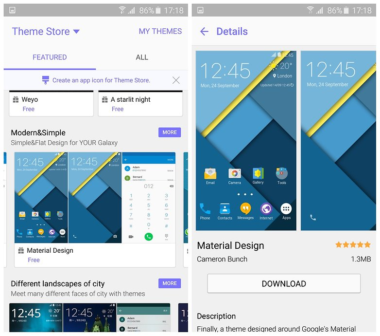 AndroidPIT Samsung Galaxy S6 Edge Theme Store дизайн материалов