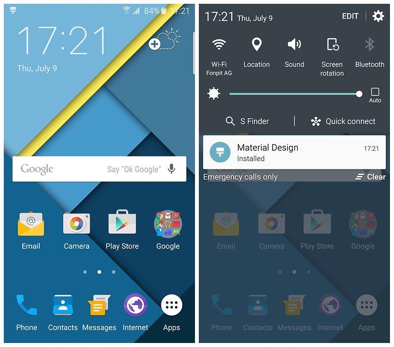 AndroidPIT Уведомления на главном экране темы оформления материалов Samsung Galaxy S6 Edge