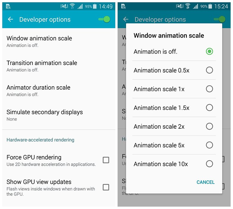 AndroidPIT Samsung Galaxy S5 TouchWiz разработчик варианты анимации