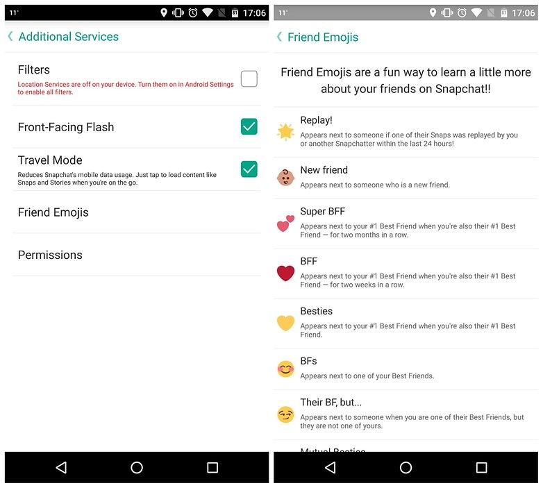 AndroidPIT Snapchat советует дополнительные услуги смайлики