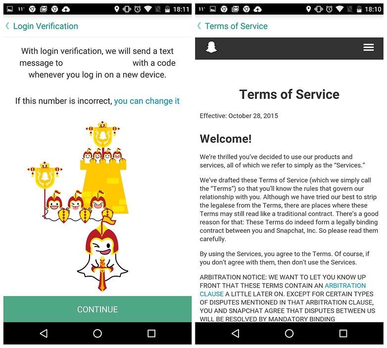AndroidPIT Snapchat советы условия проверки входа в систему