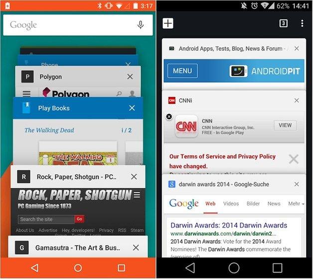 Androidpit lollipop сравнение вкладок Chrome