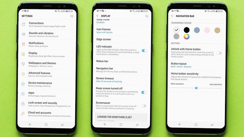AndroidPIT кнопки навигации Samsung galaxy s8