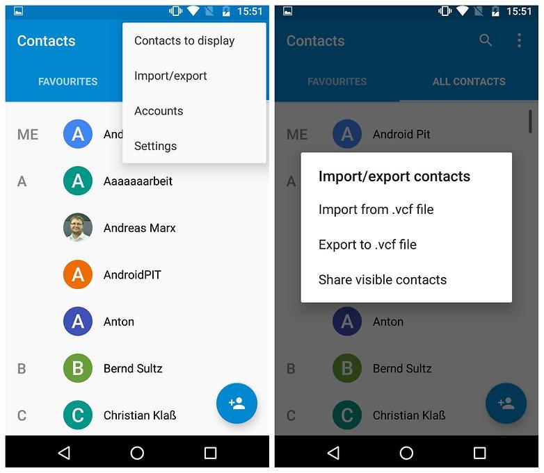 export contacts