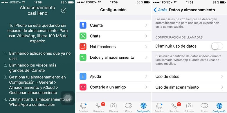 whatsapp iphone delete chats storage usage es