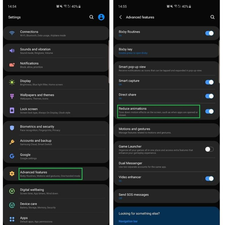 2021 04 14 Samsung One UI reduce animations BR