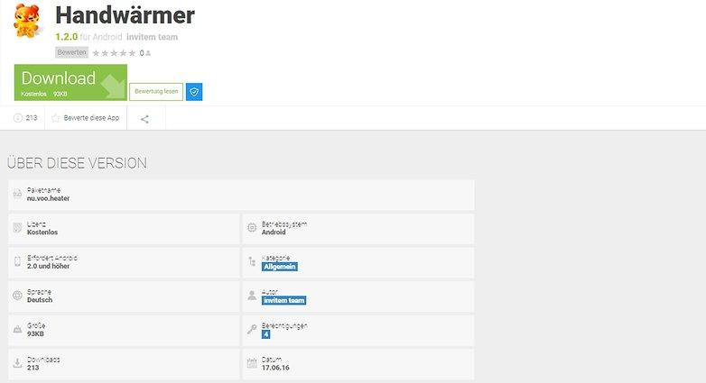 скриншот приложения Handwaermer