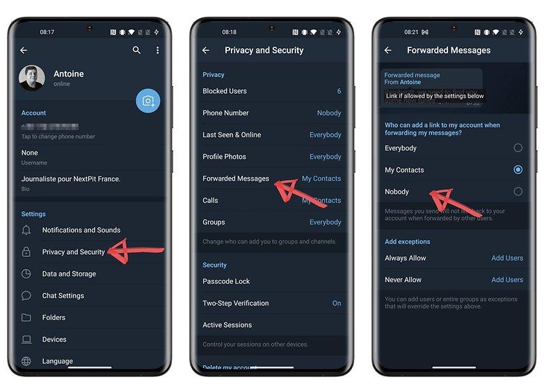 конфиденциальность телеграмм как пересылать сообщения