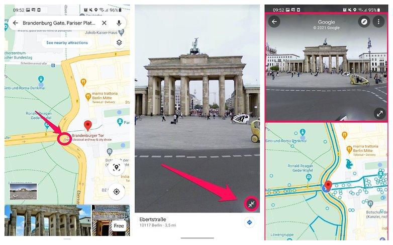 Разделенный экран Google Maps Street View