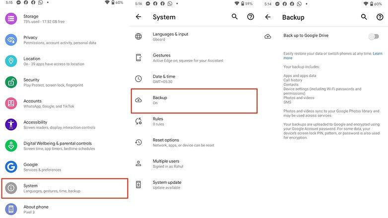 Резервное копирование телефона Android с помощью Google