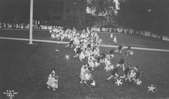Hoop rolling activity for Class Day, 1921
