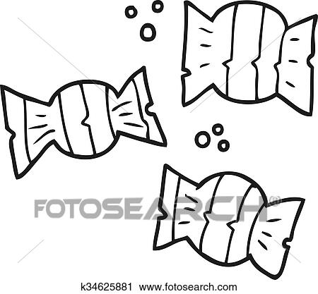 Black And White Cartoon Halloween Candy Clipart K34625881 Fotosearch