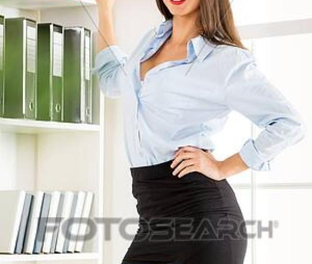 Picture Sexy Secretary With Binders Fotosearch
