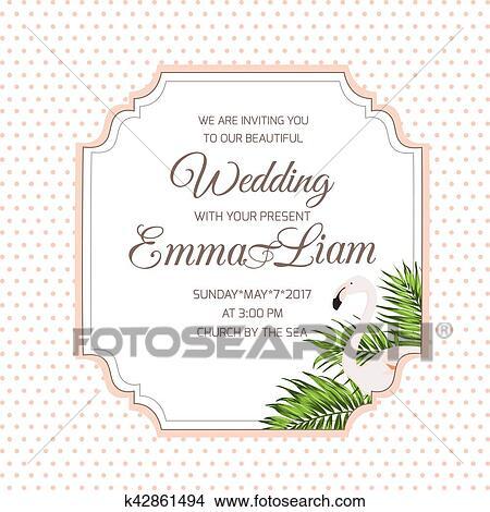 wedding invitation card flamingo