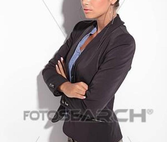 Stock Photo Sexy Business Woman Holding Her Arms Crossed Fotosearch