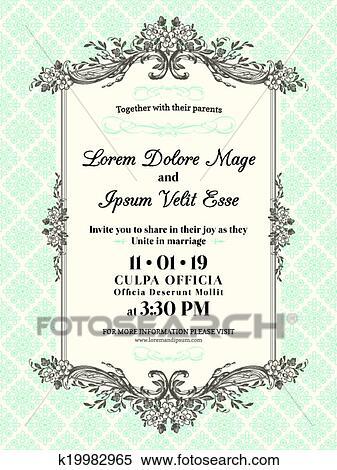 Vintage Wedding Invitation Border And Frame Clipart