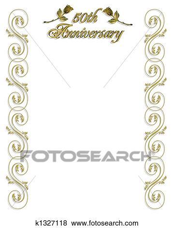 50th Anniversary Invitation Border Stock Ilration