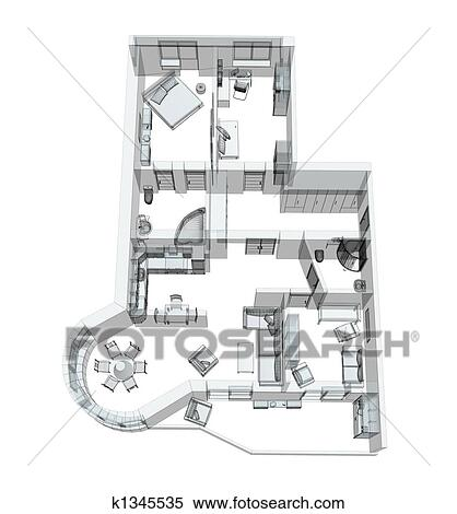 Sketch Of A Four Room Apartment Stock Ilration