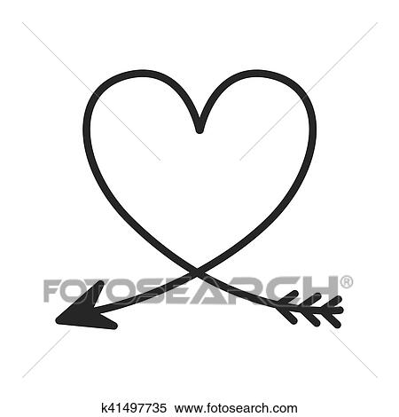 Download Silhouette of heart with arrow Clipart   k41497735 ...