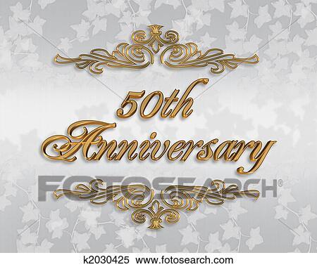 50th Wedding Anniversary Invitation Stock Ilration