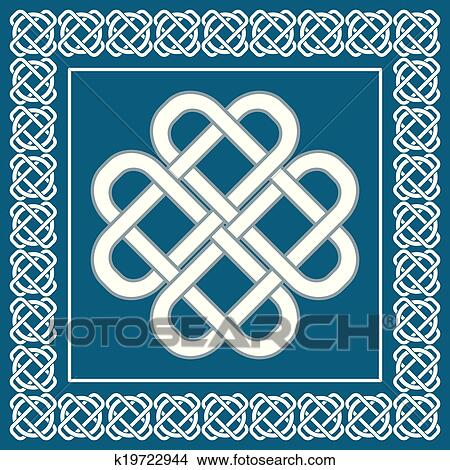 Celtic love knot, symbol of good fortune, vector ...