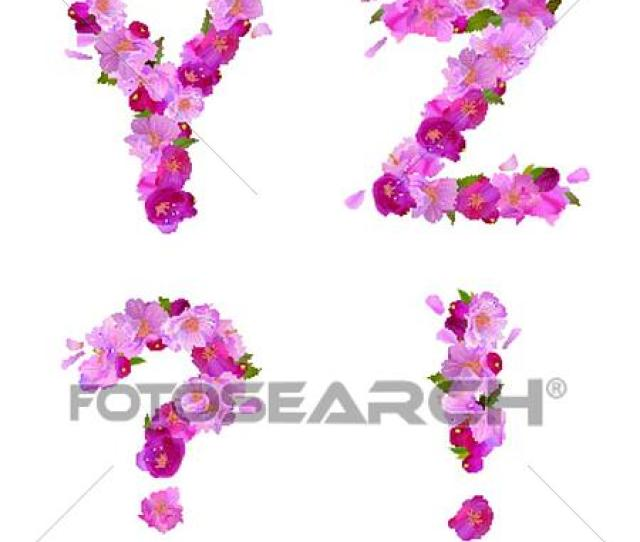 Clipart Spring Alphabet With Cherry Flowers Yz And Signs Fotosearch Search Clip Art