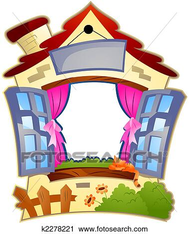Clipart of House Frame k2278221 - Search Clip Art ... (379 x 470 Pixel)