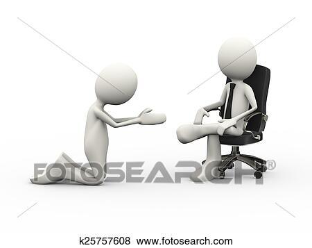 3d homme mendiant a assis patron sur chaise banque d illustrations