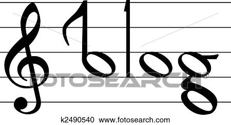 Music Note Symbol Blog Word Design Clipart K2490540 Fotosearch