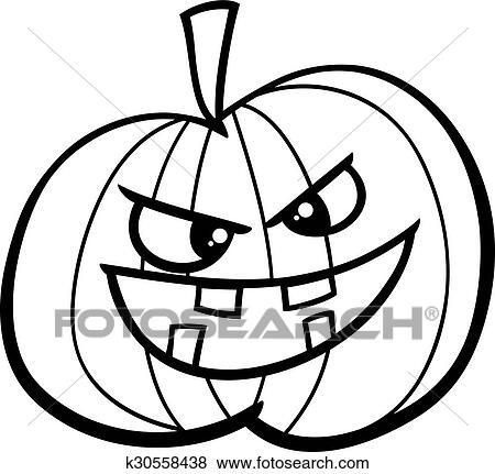 Jack O Lantern Coloring Page Clip Art K30558438 Fotosearch