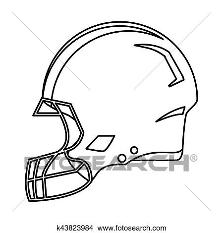 American Football Helmet Protection Outline Clipart K43823984 Fotosearch