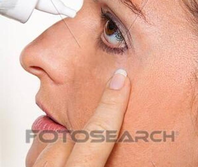 Stock Photo Women With Allergies And Eye Drops Hay Fever Fotosearch Search