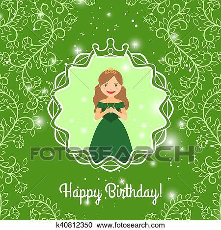 joyeux anniversaire salutation a princesse clipart