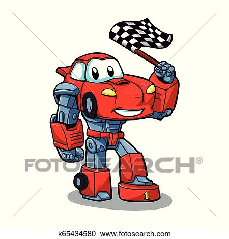 Robot Cartoon Robots For Kids Car Cartoon Clipart K65434580 Fotosearch