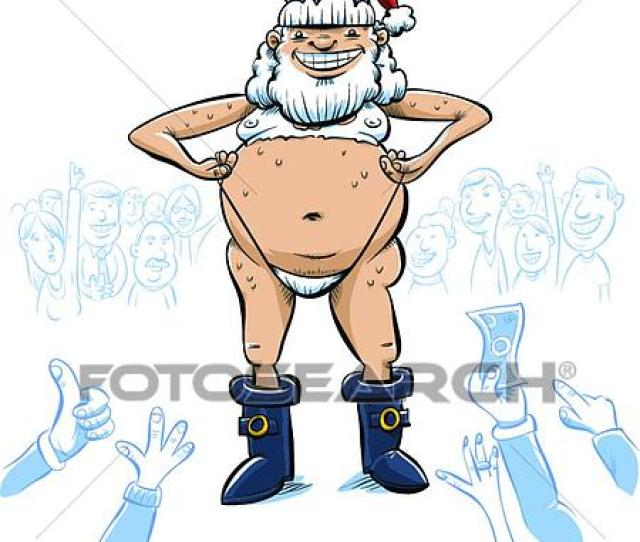 The Crowd Cheers As A Sexy Cartoon Santa Claus Strips For Them