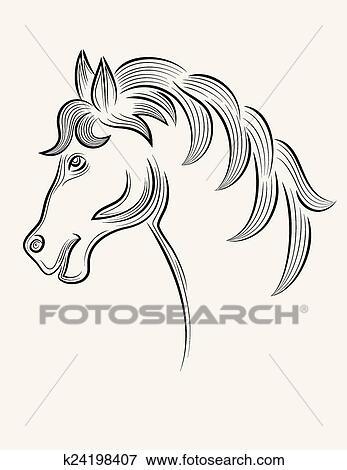 Horse Head Outline Clip Art K24198407 Fotosearch
