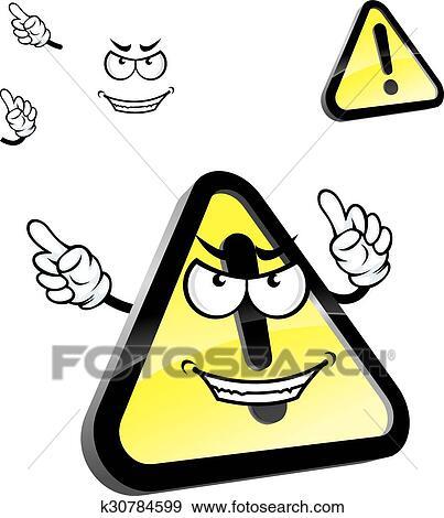 dessin anime danger avertissement attention signe clipart