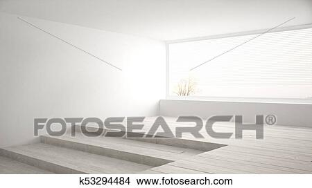 Empty Room With Big Panoramic Window And Stairs Minimalist White | Stair Room Window Design | 3D Model | Smart Window Grill | Elegant | Landing | House Beautiful