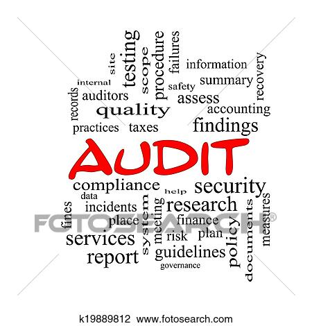 Audit Word Cloud Concept in red caps Drawing | k19889812 | Fotosearch