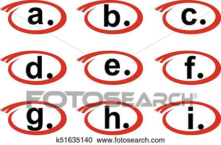 Circled Letters From A To I Clipart