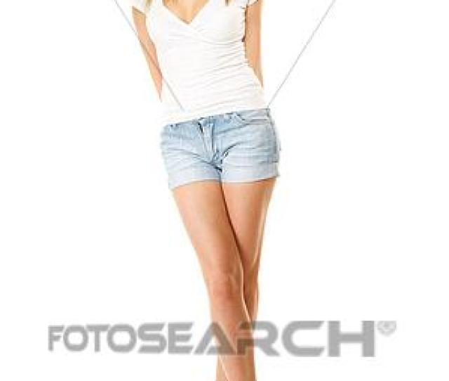 Stock Photography Summer Fashion Pretty Sexy Girl In Denim Shorts Fotosearch Search