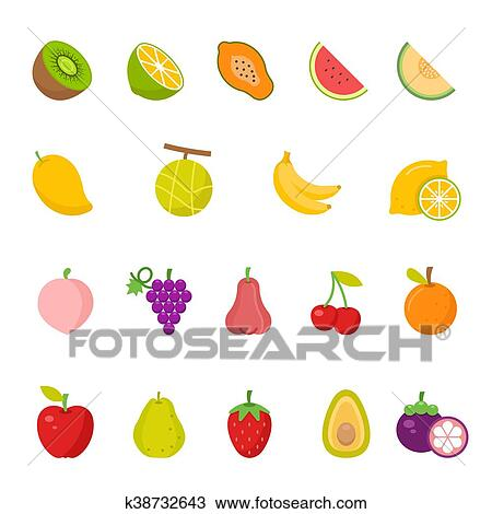 Color Icon Set Fruits Drawing K38732643 Fotosearch